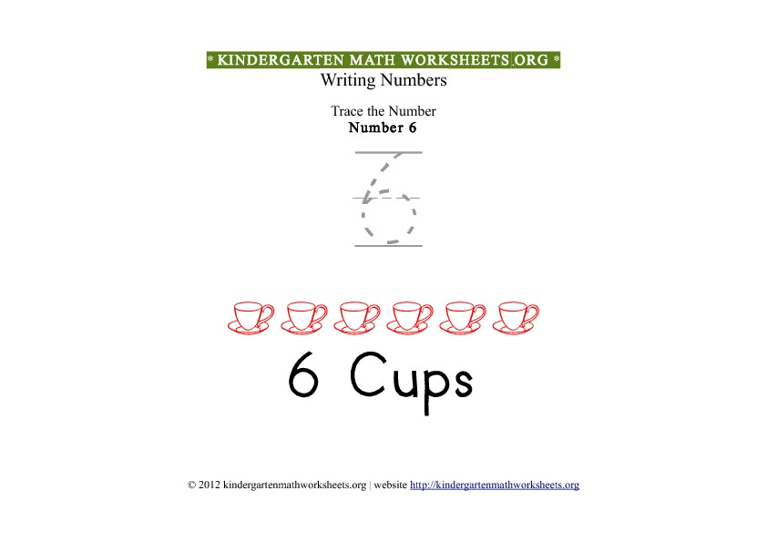 Kindergarten Math Tracing Worksheets Number 6