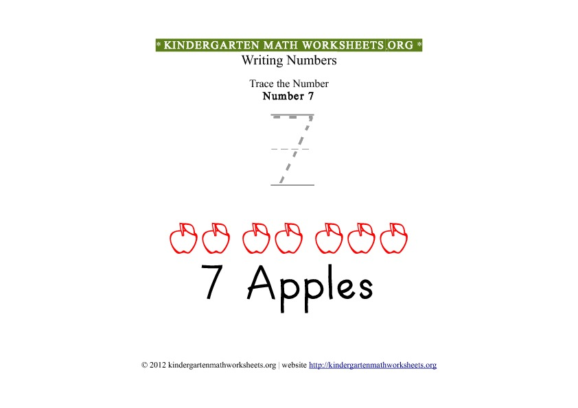 Kindergarten Math Tracing Worksheets Number 7