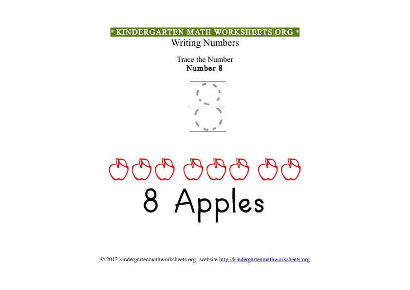 Kindergarten Math Number 8 Tracing Worksheet