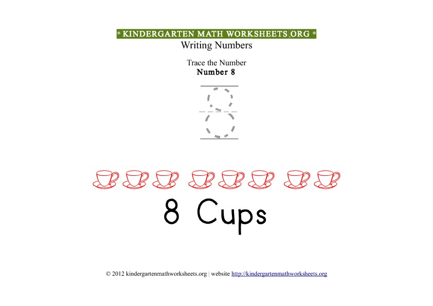Kindergarten Math Tracing Worksheets Number 8