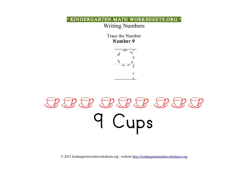 Kindergarten Math Number 9 Tracing Worksheet