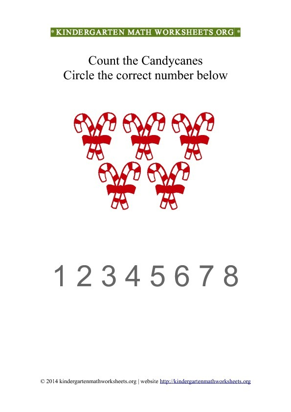 Kindergarten Count and Circle red Christmas candycanes Worksheet