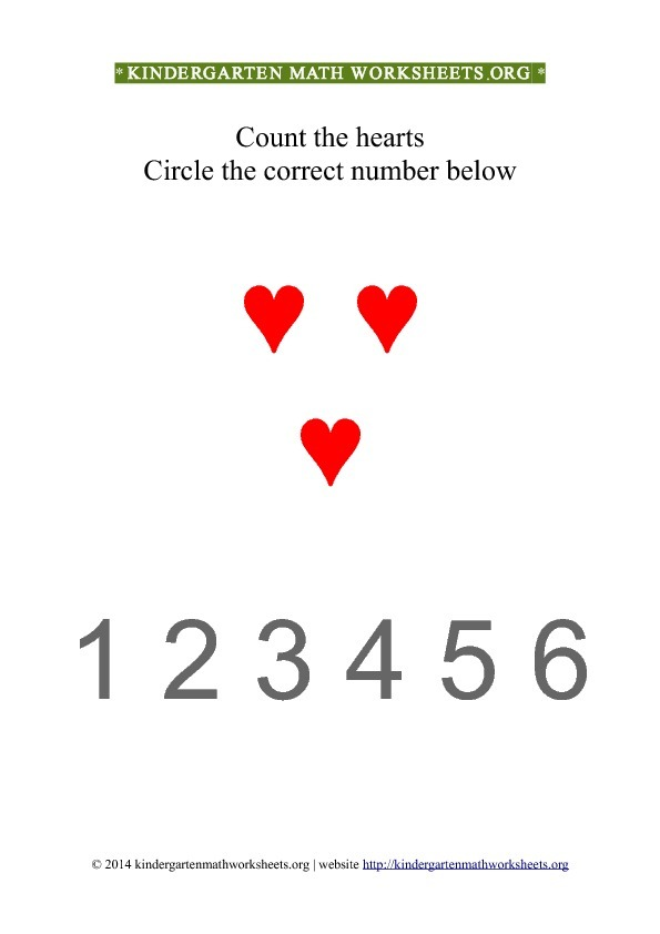 Kindergarten Count and Circle red hearts Worksheet