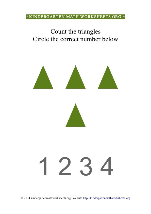 Kindergarten Count and Circle green triangle shapes Worksheet