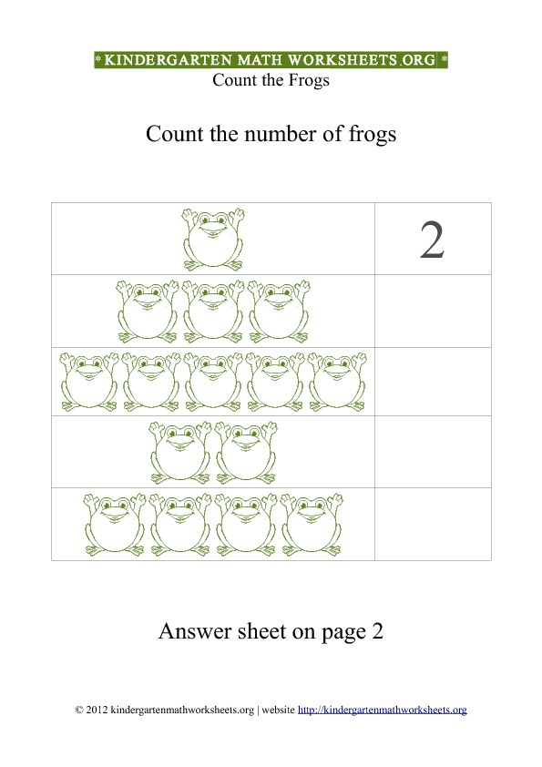 Kindergarten Math Counting Frogs