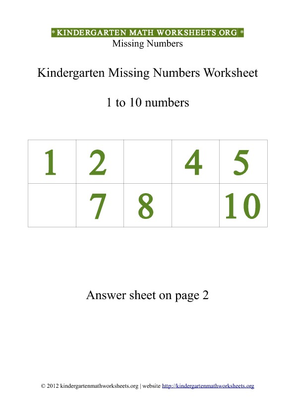 Printable Worksheets kindergarten number worksheets 1-10 : Kindergarten 1 to 10 Missing Numbers Worksheet | Kindergarten Math ...