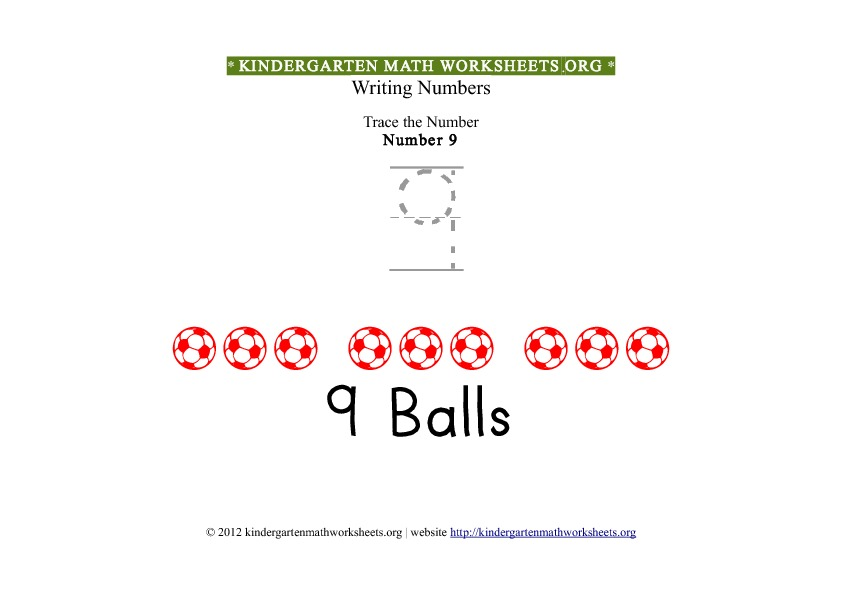 Kindergarten Math Tracing Worksheets Number 9